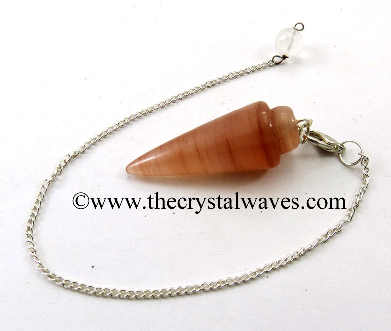 Smooth Gemstone Pendulums With Metal Chain