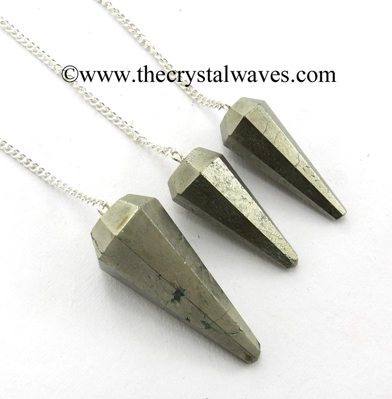 Faceted Gemstone Pendulums With Metal Chain