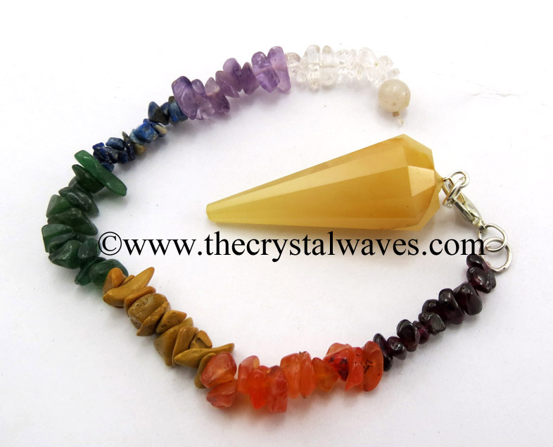 Faceted Pendulums With Chakra Chips Chain