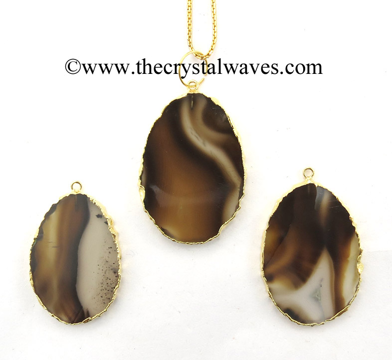 Electroplated Flat Oval Pendants