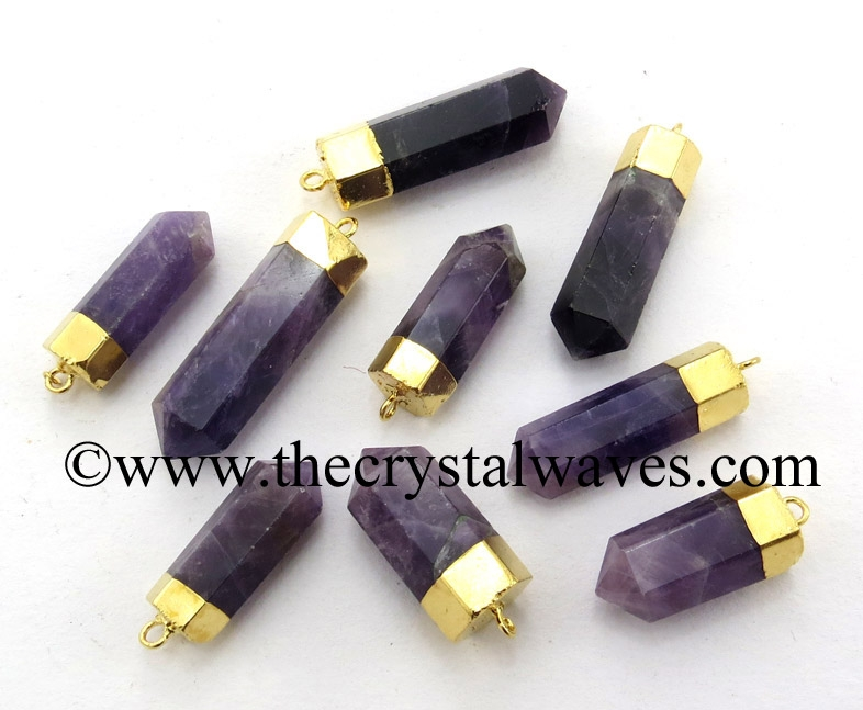 Gemstone Electroplated Pencil Pendant