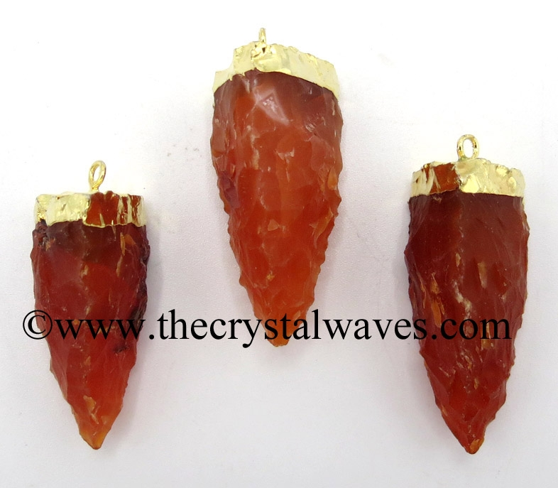 Electroplated Handknapped Tooth Pendant