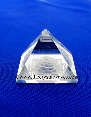 Crystal Quartz / Sfatik  Pyramid Shreeyantra Small Size