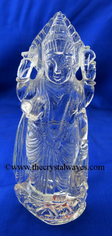 Exclusive Crystal Quartz / Sfatik Hand Carved Lord Vishnu Ji