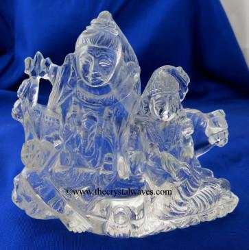 Exclusive Crystal Quartz / Sfatik Hand Carved   Shiva Parivar /Family