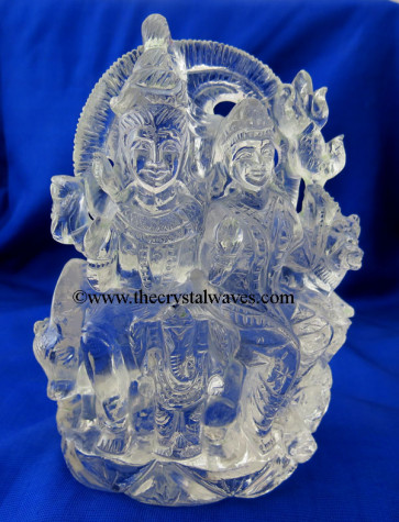 Exclusive Crystal Quartz / Sfatik Hand Carved  Shiva Parivar / Family