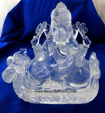 Exclusive Crystal Quartz / Sfatik Hand Carved  Lord Ganesha