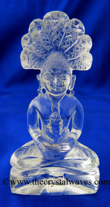 Crystal Quartz 3 Inch Hand Carved  Parshvanath Ji Good Quality
