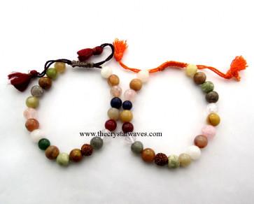Multi Round Beads Drawstring Bracelet