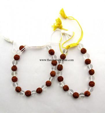 Rudraksha - Crystal Quartz Beads Drawstring Bracelet