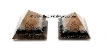 Selenite & Black Tourmaline Orgone pyramids With Copper Coil