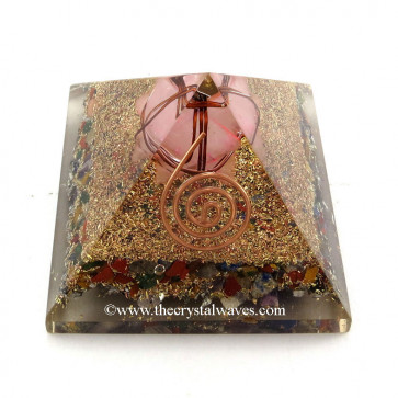Chakra Orgone Pyramids With Copper Wrapped Rose Quartz Merkaba