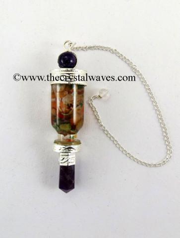 Amethyst 3 Pc Pendulum With Bottled Chakra Chips
