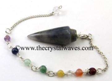 Iolite Smooth Pendulum With Chakra Chain