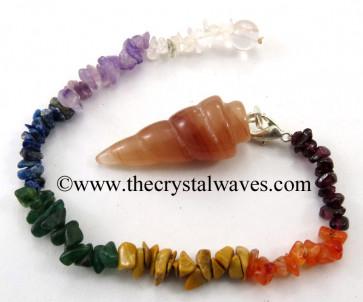 Peach Moonstone Spiral Pendulum With Chakra Chips Chain