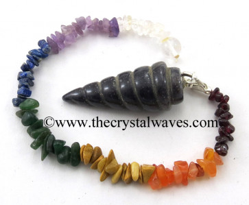 Blue Aventurine Spiral Pendulum With Chakra Chips Chain