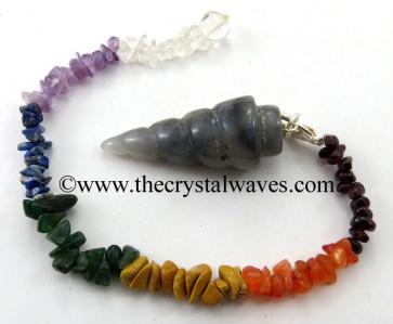 Iolite Spiral Pendulum With Chakra Chips Chain