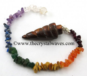 Red Tiger Eye Agate Spiral Pendulum With Chakra Chips Chain