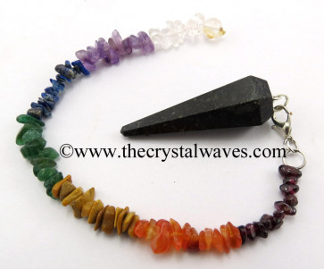 Nuummite / Coppernite Faceted Pendulum With Chakra Chips Chain