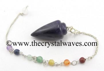 Amethyst Smooth Pendulum With Chakra Chain