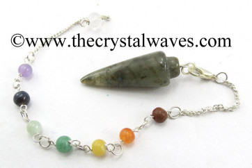 Labradorite Smooth Pendulum With Chakra Chain
