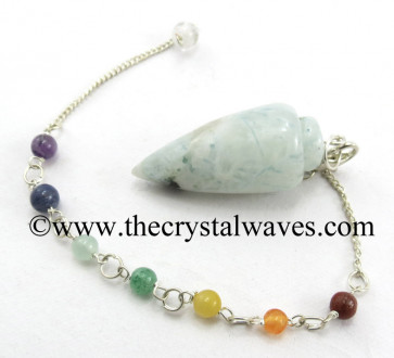 Rainbow Moonstone Smooth Pendulum With Chakra Chain