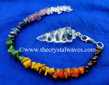 Crystal Quartz Spiral Pendulum With Chakra Chips Chain