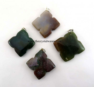 Fancy Jasper 4 Notch Flower Pendant