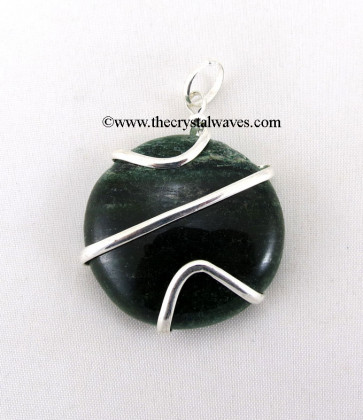 Green Aventurine Cage Wrapped Disc Pendant