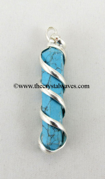 Turquoise Manmade  Cage Wrapped Pencil Pendant