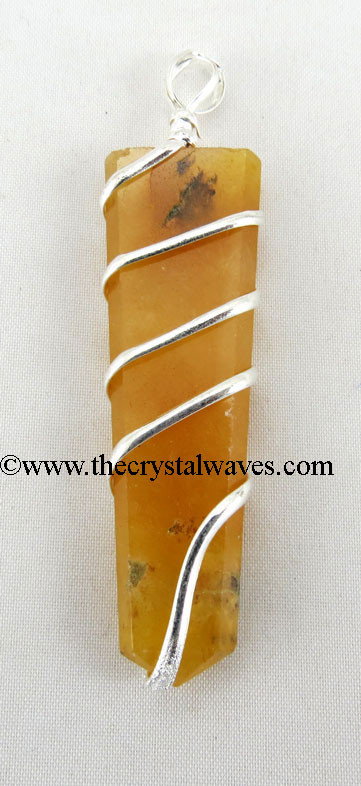 Yellow Aventurine  Cage Wrapped Flat Pencil Pendant