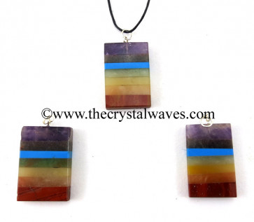 7 Chakra Bonded Rectangle Pendant