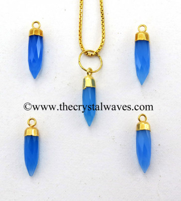 Blue Chalcedony Small Bullet Gold Electroplated Pendant