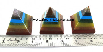 7 Chakra Bonded  with manmade turquoise 35 - 55 mm wholesale pyramid