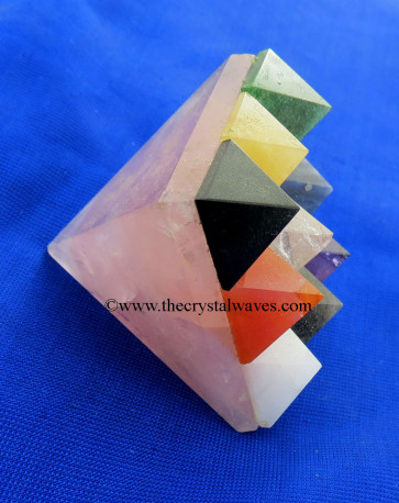 Rose Quartz Lemurian Master Pyramid With 9 Gemstone Pyramid At Bottom