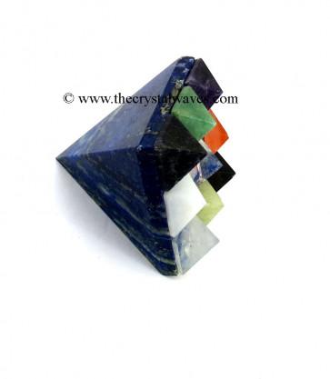 Lapis Lazuli Lemurian Master Pyramid With 9 Gemstone Pyramid At Bottom