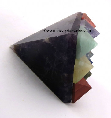 Amethyst Lemurian Master Pyramid With 9 Gemstone Pyramid At Bottom