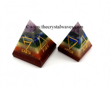 7 Chakra Bonded 5 Element Engraved Pyramid