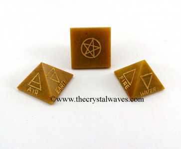 Camel Jasper 5 Element Engraved Pyramid