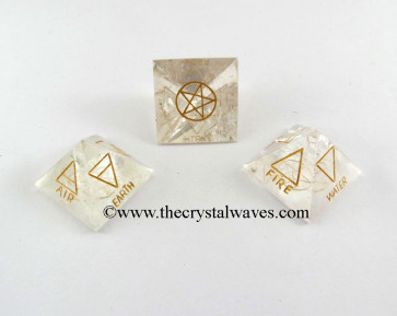 Crystal Quartz 5 Element Engraved Pyramid