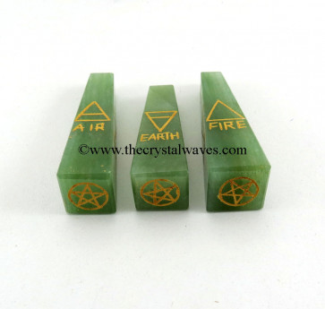 Green Aventurine  5 Element Engraved Tower