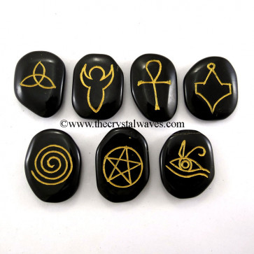 Pagan / Wiccan Symbols Engraved On Black Agate