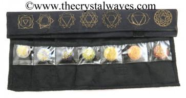 Chakra Symbols Printed Black Velvet Chakra Set Pounh