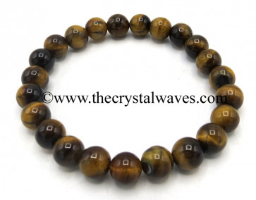 Tiger Eye Agate 8 mm Round Beads Bracelet