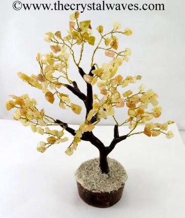 Yellow Aventurine 200 Chips Brown Bark Golden Wire Gemstone Tree With Wooden Base