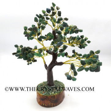 Green Aventurine 300 Chips Brown Bark Golden Wire Gemstone Tree With Wooden Base