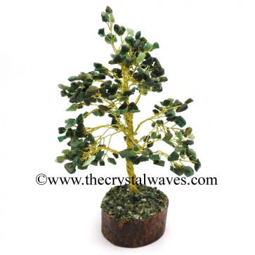 Green Aventurine 500 Chips Golden Wire Gemstone Tree With Wooden Base