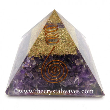 Amethyst Orgone Pyramid With Copper Wrrapped Crystal Point