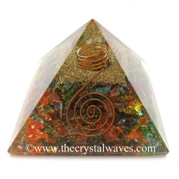 Chakra Orgone Pyramids Dyed Quartz With Copper Coil