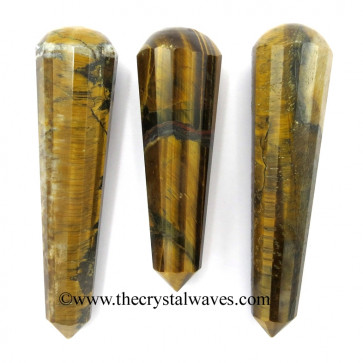Tiger Eye Agate Faceted Massage Wands